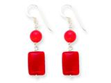 Sterling Silver Red Coral/red Agate Earrings style: QE5596