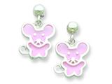 Sterlilng Silver Pink Resin Mouse Earrings