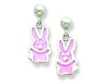 Sterling Silver Pink Bunny Resin Earrings