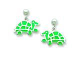Sterling Silver Turtle Resin Earrings