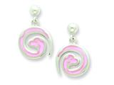 Sterling Silver Pink Snake Resin Earrings