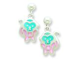 Sterling Silver Pink and Blue Resin Monkey Earrings style: QE5669