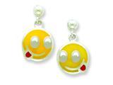 Sterling Silver Smiley Face with Tongue Out Resin Earrings