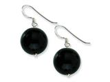 Sterling Silver 14mm Black Agate Earrings style: QE5866