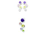 Sterling Silver Multi-colored Cubic Zirconia Earringsand Pendant Set - Chain Included style: QE5SET