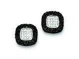 Sterling Silver Black And White Cubic Zirconia Square Earrings style: QE6060