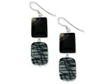 Sterling Silver Black Agate And Zebra Jasper Earrings style: QE6099