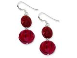 Sterling Silver Red Pumpkin Coral and Red Reconstructed Stone Earrings style: QE6194