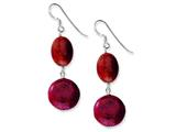 Sterling Silver Red Coral Dangle Earrings style: QE6212