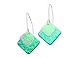 Sterling Silver Blue Dichroic Glass Diamond Shaped Dangle Earrings style: QE6258