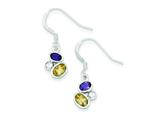 Sterling Silver Citrine and Amethyst Polished Fancy Dangle Earrings style: QE6276