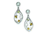 Sterling Silver Cubic Zirconia and Multi-color Gemstone Post Dangle Earrings style: QE6277
