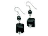 Sterling Silver Black Agate and Hematite Dangle Earrings style: QE6342