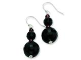 Sterling Silver 8-14mm Black Agate and Rh Garnet Dangle Earrings style: QE6359