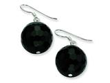 Sterling Silver 16.5mm Faceted Onyx Bead Earrings style: QE6362