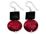 Sterling Silver Black Agate and Red Coral Earrings style: QE6371