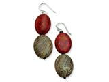 Sterling Silver Red Coral and Red Zebra Jasper Dangle Earrings style: QE6373
