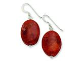 Sterling Silver Red Coral Earrings style: QE6379