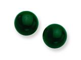 Sterling Silver 8-8.5mm Button Emerald Green Agate Post Earrings style: QE6425