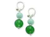 Sterling Silver 12mm Aventurine/10mm Amazonite Dangle Earrings style: QE6427