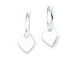 Sterling Silver Diamond Shape Dangle Hoop Earrings style: QE6626