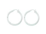 Sterling Silver 3mm Diamond-cut Hoop Earrings style: QE6804