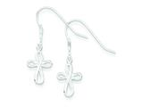 Sterling Silver Polished Cross Dangle Earrings style: QE6912