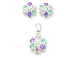 Sterling Silver Multi-colored Cubic Zirconia Floral Earringsand Pendant Set - Chain Included style: QE6SET