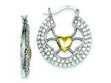 Sterling Silver and Vermeil Heart Cubic Zirconia Round Hoop Earrings style: QE7028