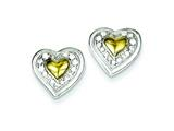 Sterling Silver and Vermeil Cubic Zirconia Heart Post  Earrings style: QE7030