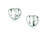 Sterling Silver Diamond Accent Polished Wavy Heart Post Earrings style: QE7043