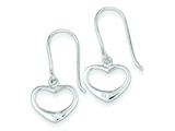 Sterling Silver Polished Heart W/ White Cubic Zirconia Accent Dangle Earrings style: QE7048