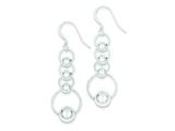 Sterling Silver Polished Circle and Bead Dangle Earrings style: QE7139