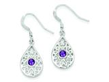 Sterling Silver and Amethyst Polished Fancy Filigree Dangle Earrings style: QE7142