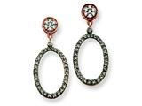 Sterling Silver Rhodium Cubic Zirconia Oval Post Dangle Earrings style: QE7248