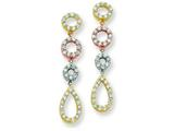 Sterling Silver Multitone Vermeil Cubic Zirconia  Post Dangle Earrings style: QE7252