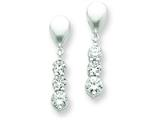 Sterling Silver and Cubic Zirconia Polished Fancy Dangle Post Earrings style: QE7265