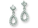 Sterling Silver Cubic Zirconia Pear Dangle Post Earrings style: QE7266