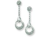 Sterling Silver Cubic Zirconia Circles Post Dangle Earrings style: QE7282