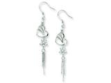 Sterling Silver Cubic Zirconia Heart and Flower Dangle Earrings style: QE7288