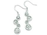 Sterling Silver and Cubic Zirconia Fancy Polished Dangle Earrings style: QE7290