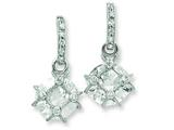 Sterling Silver Cubic Zirconia Bar W/ Round Cubic Zirconia Post Dangle Earrings style: QE7297