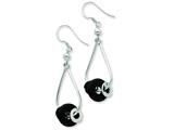 Sterling Silver and Black Onyx Bead Dangle Earrings style: QE7307