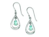 Sterling Silver Diamond Accent Blue Topaz Dangle Earrings style: QE7314