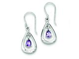 Sterling Silver Diamond Accent Amethyst Dangle Earrings style: QE7318