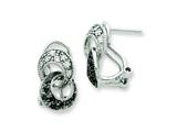 Sterling Silver Cubic Zirconia Interlocking Loop Omega Back Earrings style: QE7322