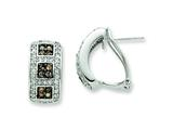 Sterling Silver Chocolate and White Cubic Zirconia Omega Back Earrings style: QE7324