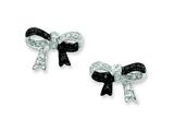 Sterling Silver And Black Plating W/ Black And White Cubic Zirconia Bow Post Earrings style: QE7339