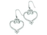 Sterling Silver Cubic Zirconia Heart Dangle Earrings style: QE7357