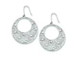 Sterling Silver Cut Out Flowers And Cubic Zirconia Circle Dangle Earrings style: QE7359